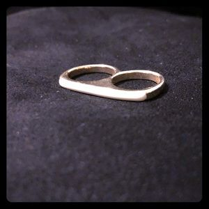Jewelry - Gold Double Finger Ring W/ White Accent